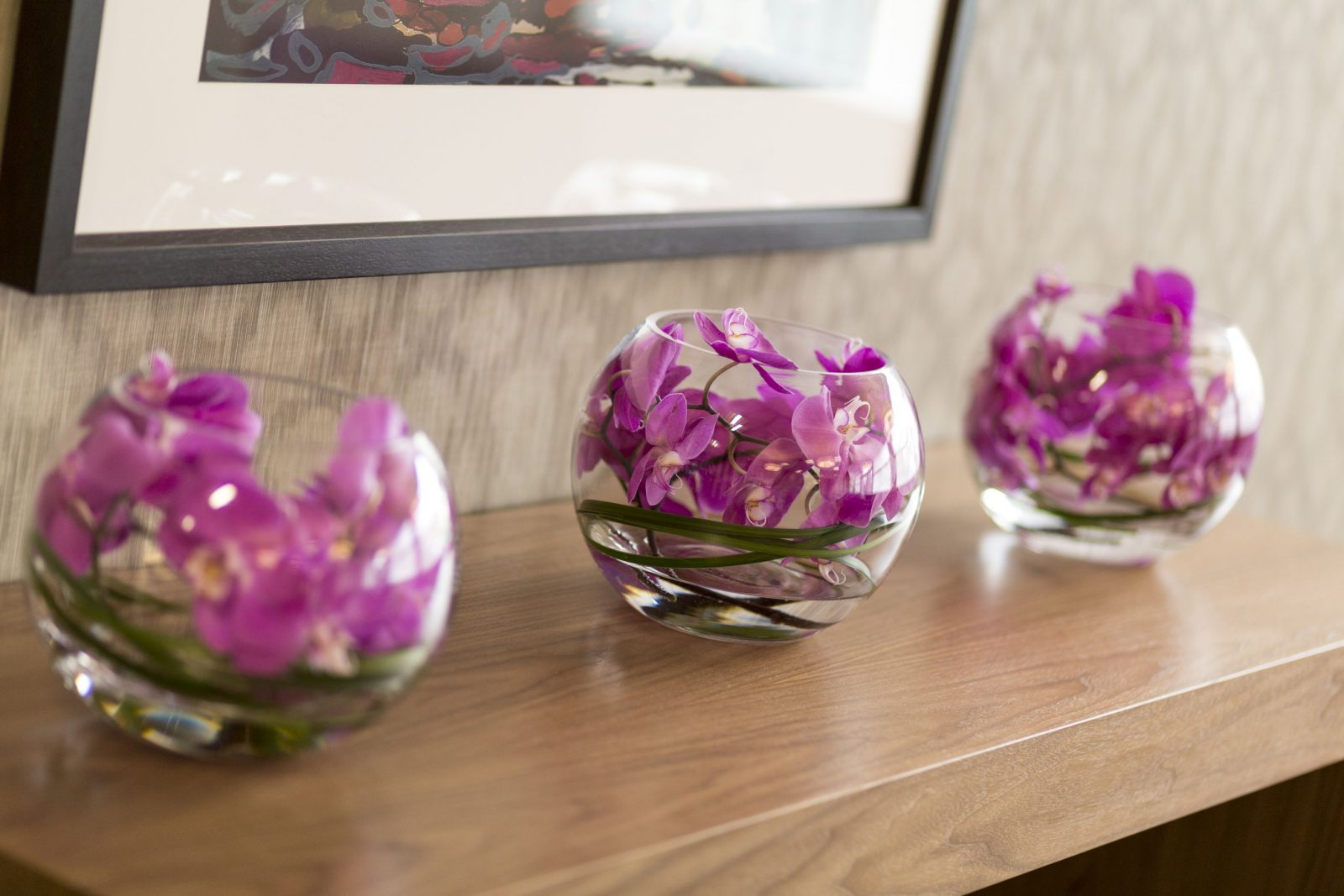 Picture of flowers in vases in clinic